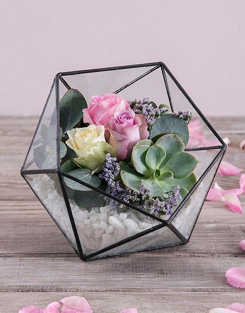 colour: Romantic Rose Succulent Terrarium!