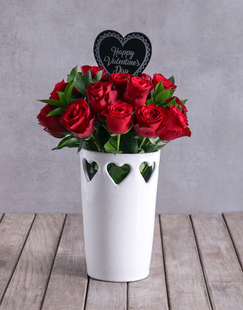 roses: Red Roses In Valentines Heart Vase !