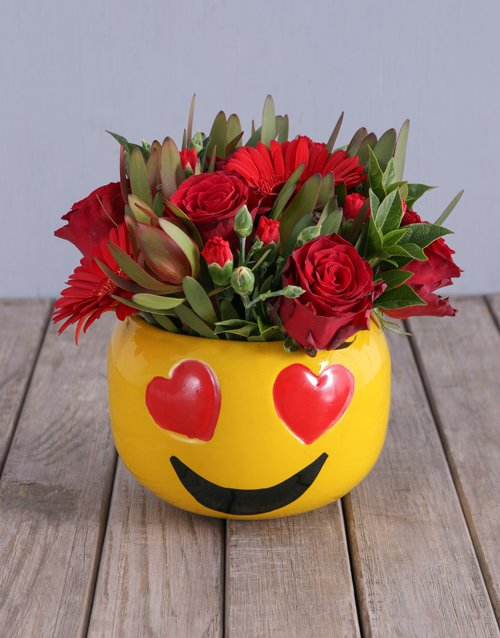 colour: Mixed Red Flowers In Heart Eyes Emoji Pot!