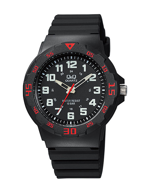 anniversary: QQ Gents Black White and Red Quartz Watch!