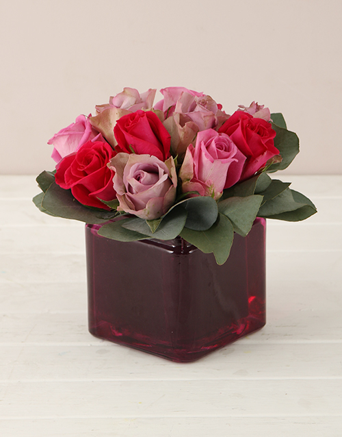 roses: Lilac and Pink Roses in Square Vase!