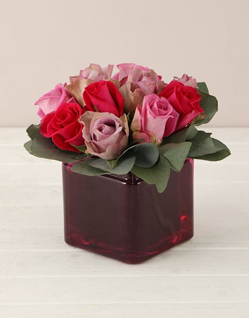 flowers: Lilac and Pink Roses in Square Vase!