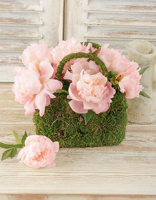 seasonal: Light Pink Peonies in Moss Basket!