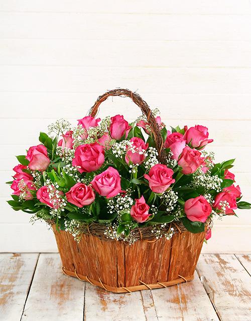 roses: Cerise Rose Basket!