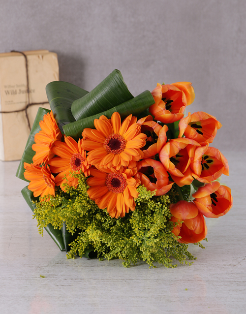 seasonal: Orange Gerbera and Tulip Bouquet!