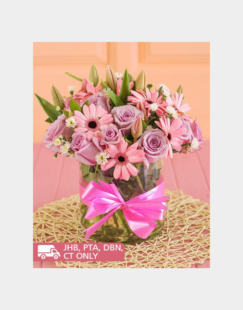 vase: Gerberas and Roses in a Round Vase !