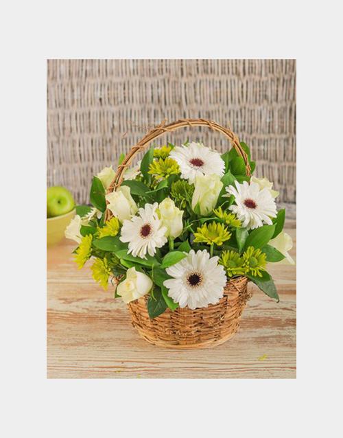 basket: White Mix Flower Basket!