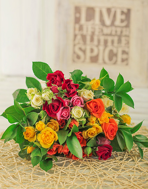 roses: 50 Kenyan Cluster Mixed Rose Bouquet!