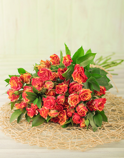 bouquets: 50 Kenyan Cluster Variegated Rose Bouquet!