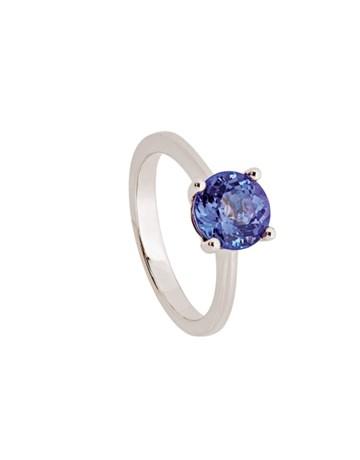 18KT White Gold Claw Round Tanzanite Ring