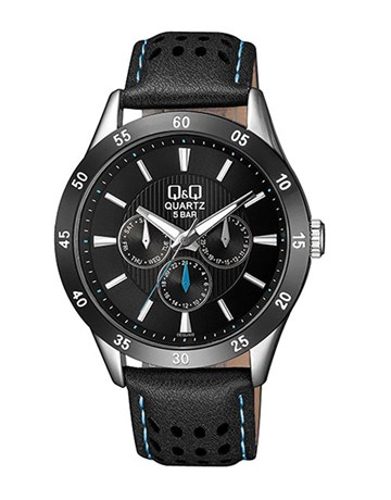 QQ Gents Black Dial Chronograph Leather Watch